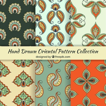 Oriental pattern collection of floral paisley