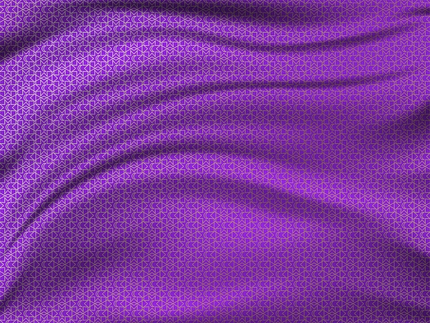 Oriental pattern on wavy silk fabric.
