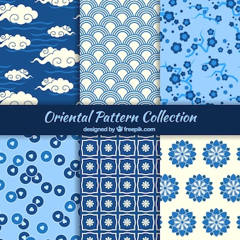 Oriental patterns in blue color