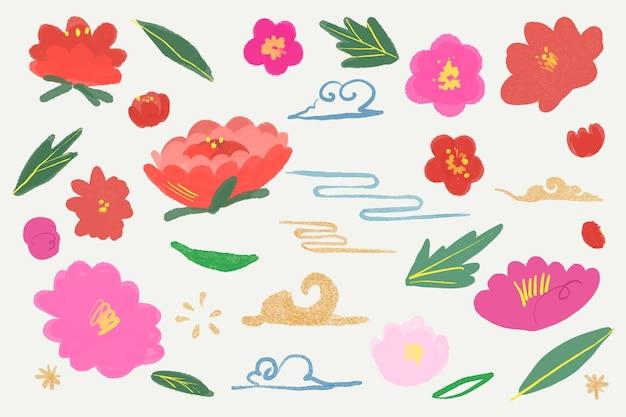 東洋のピンクと赤の花の植物図