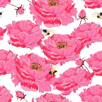 Oriental pink bloom vector seamless floral pattern.