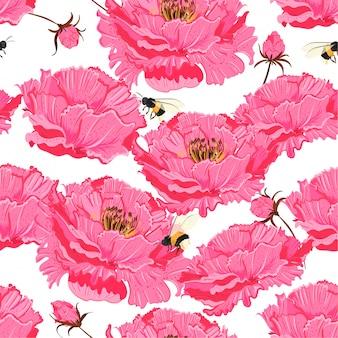 Oriental pink bloom vector seamless floral pattern.