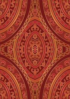 オリエンタルな赤とオレンジの飾り。カーペット、テキスタイルのパターン。