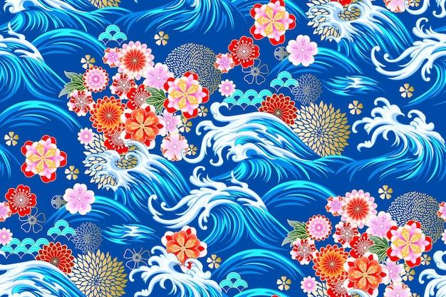동양 바다 원활한 장식 벡터 패턴