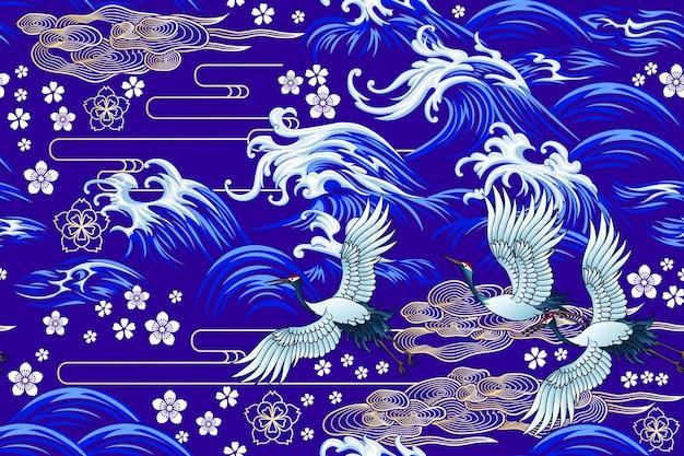東洋の海のシームレスな装飾的なベクトルパターン