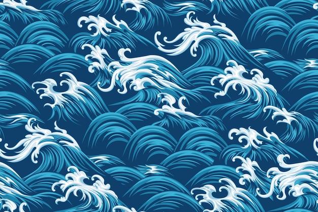 Восточное море бесшовные декоративные векторные шаблон