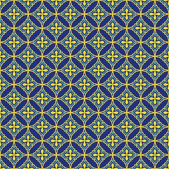 青と黄色のオリエンタルシームレスパターン。カラフルな東の飾り。