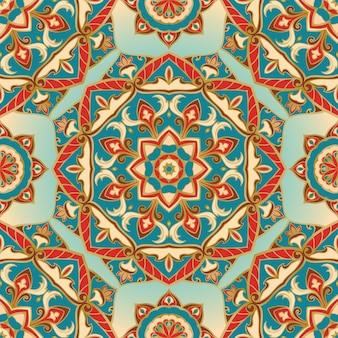 Oriental seamless pattern of mandalas.