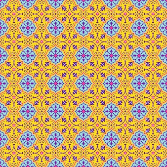 Oriental seamless pattern in yellow, blue, pink and purple colors. colorful eastern ornament.