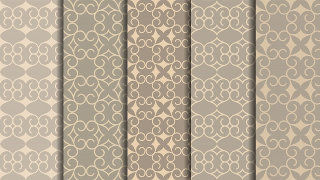 Oriental seamless patterns set, traditional arabic carpet design