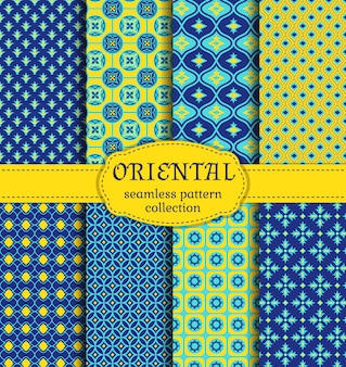 Oriental seamless patterns set