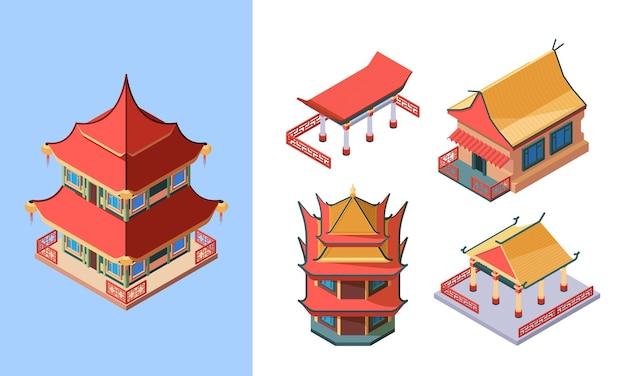 동양 사원과 궁전 아이소 메트릭 세트. 아시아 전통 건물 고대 중국 스타일의 일본 의식 탑 한국 고귀한 주택 동양 민족 구조.