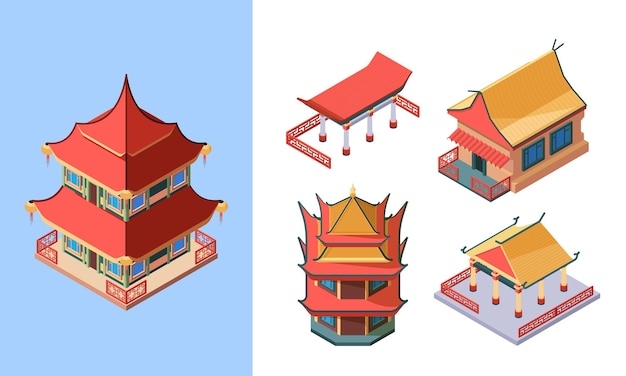 Oriental temples and palaces isometric set. asian traditional buildings ancient chinese style japanese ritual pagodas korean noble houses oriental ethnic structures.
