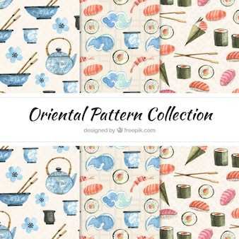 Oriental watercolor patterns