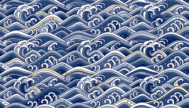 Oriental wave seamless background. line art color illustration. blue tone and light gold.