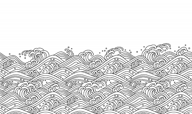 Oriental wave seamless background. line art vector illustration.