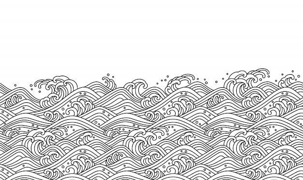 東洋の波のシームレスな背景。ラインアートのベクトル図です。