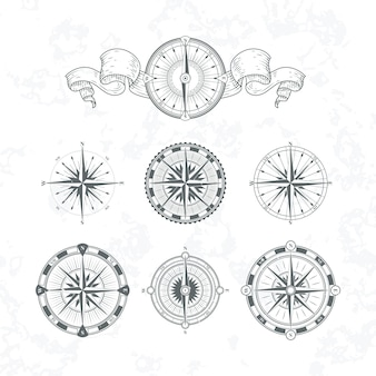 Orientation antique compas in vintage style. vector monochrome illustrations set