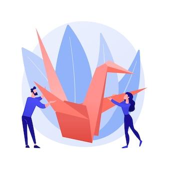 折り紙の抽象的な概念のベクトル図です。紙の折り畳みの芸術、精神的な練習、細かい運動技能の発達、社会的孤立における有用な娯楽、チュートリアルの抽象的な比喩をビデオで学ぶ方法。