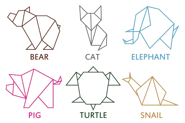 Origami animals collection set of line geometric shape for art of folded paper