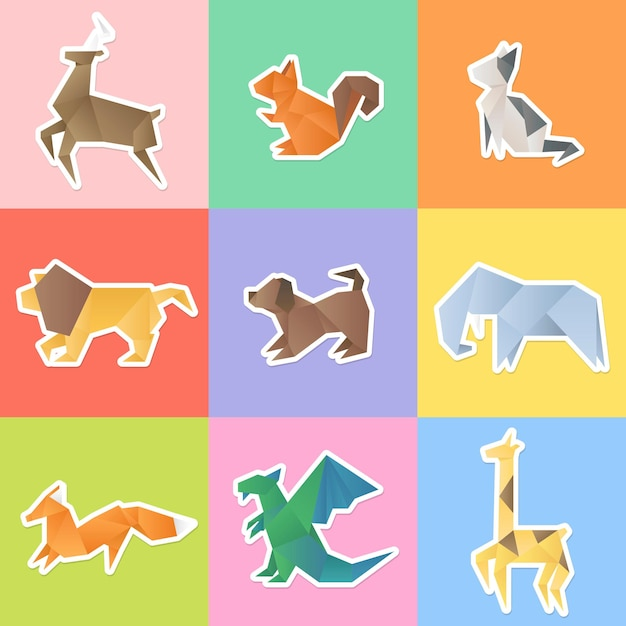 Set di adesivi animali origami