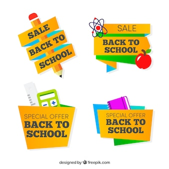 Origami back to school label collection