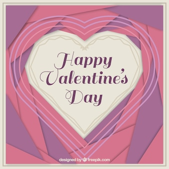 Origami background with valentine heart