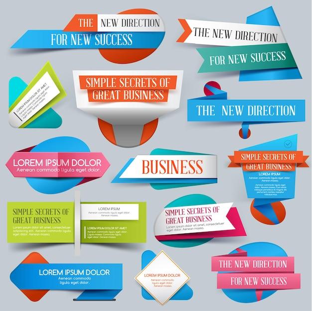ビジネス、販売または割引のために設定された折り紙バナー