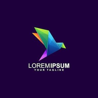 Origami bird gradient logo template