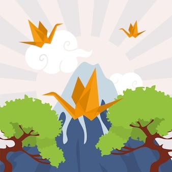 Origami bird with japanese landscape