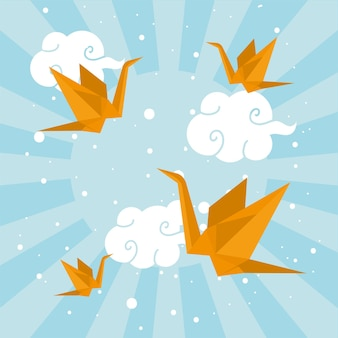 Origami birds flying