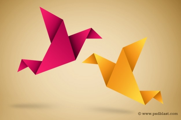 Origami birds illustration with paper fold