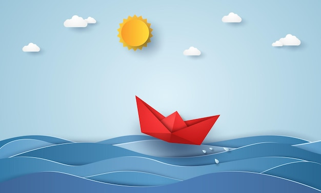 青い海を航行する折り紙ボート、ペーパーアートスタイル