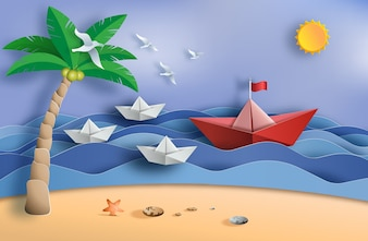 Origami boat sailing in the ocean, leadership concept.