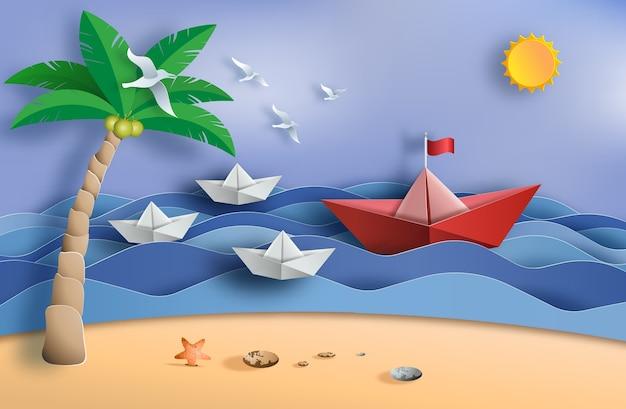 Оригами лодка плывет в океане, концепция лидерства.