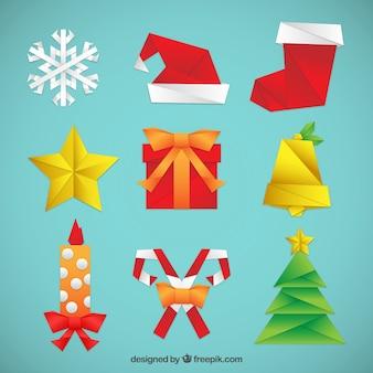 折り紙クリスマスの要素セット