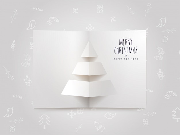 Origami christmas greeting card template