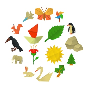 Origami craft icons set, cartoon style