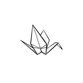 Оригами журавль рисованной наброски каракули значок. кран оригами эскиз векторные иллюстрации для печати, интернета, мобильных и инфографики, изолированные на белом фоне.