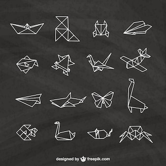 Origami elements on a blackboard