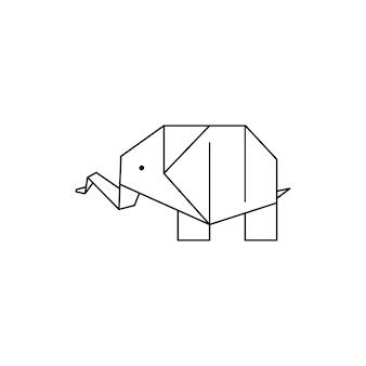 トレンディなミニマルな線形スタイルの折り紙象のアイコン。折り畳まれた紙の動物のフィギュア。ロゴ、パターン、タトゥー、ポスター、tシャツのプリントを作成するためのベクトル図