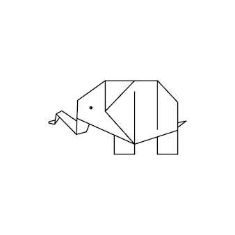 Origami elephant icon in a trendy minimalistic linear style. folded paper animal figures. vector illustration for creating logos, patterns, tattoos, posters, prints on t-shirts