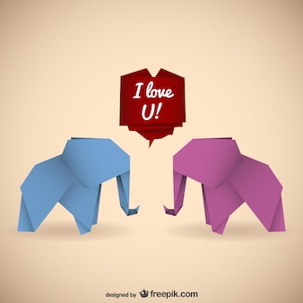 Origami elephants with love message