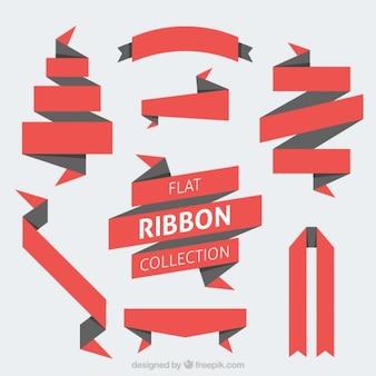 折り紙フラット赤いリボンパック