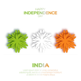 Origami flower national tricolor indian flag. indian independence day.