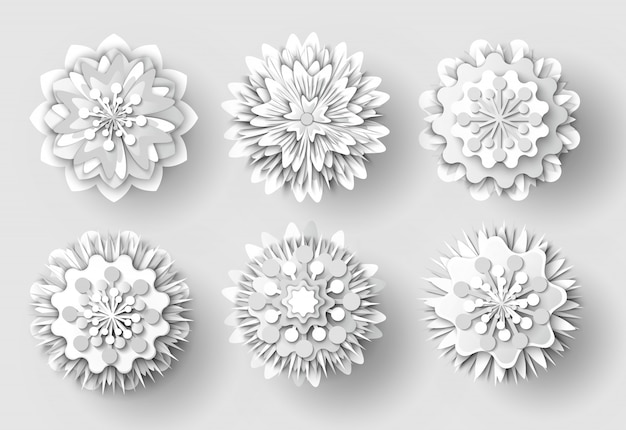 Origami flowers white paper cut out objects set