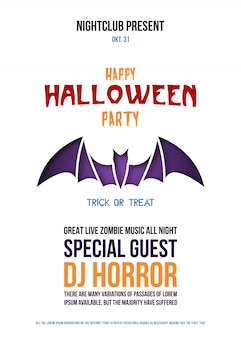 Origami flyer with bat for halloween celebration.