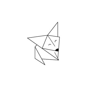 Оригами лисица икона в модном минималистичном линейном стиле. сложенные фигурки животных из бумаги. векторная иллюстрация для создания логотипов, узоров, татуировок, плакатов, принтов на футболках