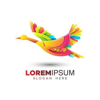 Origami goose logo template