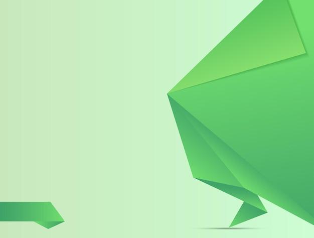 Оригами зеленый баннер с местом для текста